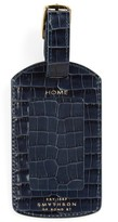 Smythson Women's Mara Croc Embossed Leather Luggage Tag - Blue