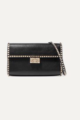 Valentino Garavani Rockstud No Limit Textured-leather Shoulder Bag - Black