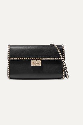 Valentino Garavani The Rockstud No Limit Textured-leather Shoulder Bag - Black