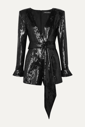 retrofete Katherine Sequined Chiffon Playsuit - Black