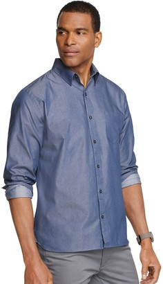 Van Heusen Men's Never Tuck Slim-Fit Solid Twill Chambray Button-Down Shirt