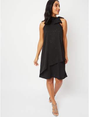 George Black Shimmering High Neck Dress