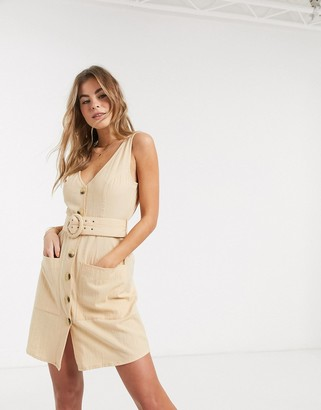 ASOS DESIGN v neck button through linen mini sundress with self covered belt in stone