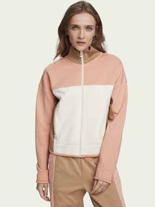 Scotch & Soda Cotton-blend long sleeve colour-block zip up sweatshirt | Women