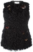 Valentino embroidered fur gillet - women - Cotton/Goat Skin/Polyester/Lamb Fur - 38