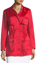 St. John Drawstring Satin Outerwear Jacket, Hibiscus