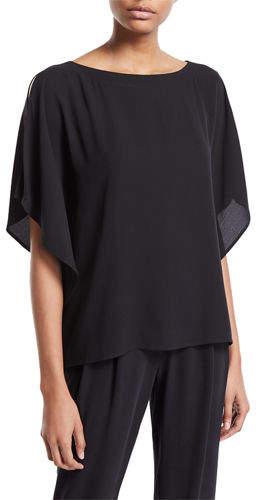 Eileen Fisher Open-Sleeve Silk Crepe Blouse, Plus Size