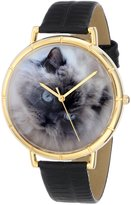 Whimsical Watches Women's N0120039 Himalayan Cat Black Leather And Goldtone Photo Watch