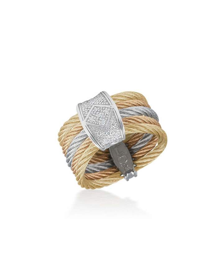 Alor Tricolor Stacked Ring w/ Diamond Pave, Size 7