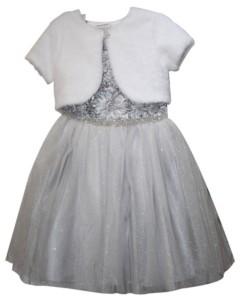 Blueberi Boulevard Little Girls Faux Fur Shoulder Soutash Dress