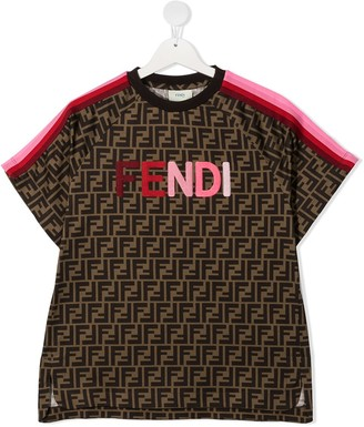 Fendi Kids logo patch monogram T-shirt