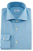 Kiton Alternating Wide-Striped Dress Shirt, Aqua