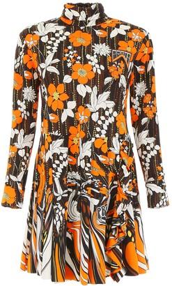 Prada Floral Printed Turtleneck Mini Dress