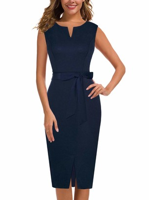 Moyabo Women Dress for Special Occasions Sleeveless V Neck Belt Tie Waist Business Office Work Pencil Dress Navy Blue XX-Large