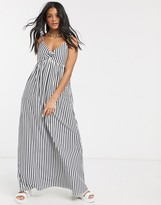 Asos Design DESIGN cami bow front maxi sundress in navy and white stripe