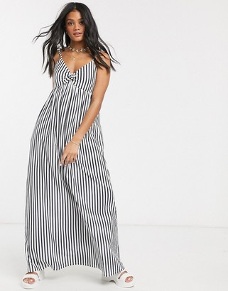 ASOS DESIGN cami bow front maxi sundress in navy and white stripe