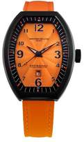 Montres de Luxe Women's EXL 8302 Estremo Lady Black PVD Orange Sunray Dial Leather Luminous Date Watch
