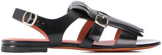 Santoni fringe flap flat sandals