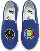 Joshua Sanders Rainbow Smile Canvas Slip-On Sneakers