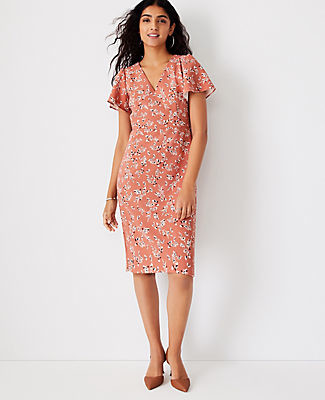 Ann Taylor Floral Flutter Sleeve Sheath Dress