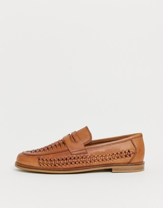 Moss Bros woven loafer in brown