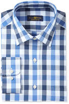 Club Room Men's Estate Classic/Regular Fit Wrinkle Resistant Blue Navy Gingham Dress Shirt, Only at Macy's