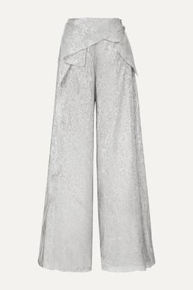 Roland Mouret Argott Silk-blend Lurex Wide-leg Pants - Silver