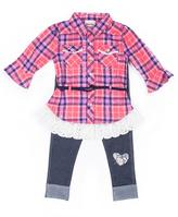 Little Lass Blue & Coral Plaid Ruffle Tunic & Leggings - Infant & Girls