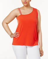 INC International Concepts Plus Size One-Shoulder Rhinestone-Trim Top, Created for Macy's