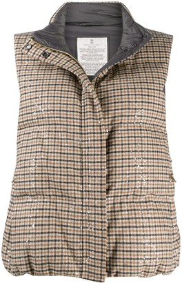 Brunello Cucinelli Check Padded Gilet