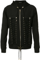 Balmain lace-up zipped hoodie - men - Cotton - S