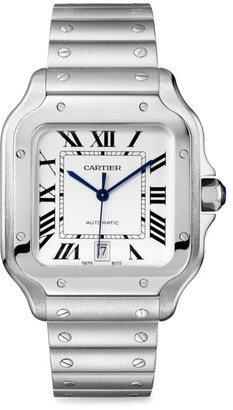 Cartier Santos de Large Stainless Steel Two-Strap Watch with Opaline Dial