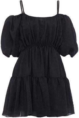 GOEN.J Cold-shoulder Gathered Silk-blend Jacquard Mini Dress