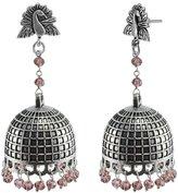 Bridal Jhumka Earring With Amethyst Crystal Beads-Jaipurn Peacock Studs Jhumki Earrings Jewellery by Silvestoo Jaipur PG 118863