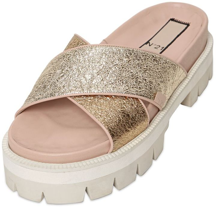 N°21 40mm Tumbled Metallic Leather Sandals