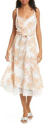 DYVNA Chacha Floral Braided Strap Silk Midi Dress