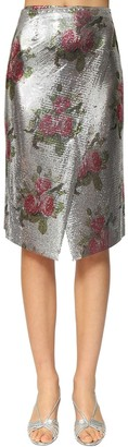 Paco Rabanne Flower Printed Metal Mesh Wrap Skirt