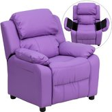 Deluxe Heavily Padded Contemporary Vinyl Kids Recliner with Storage Arms Lavender