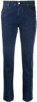 Stella McCartney Logo-Stripe Cropped Denim Jeans