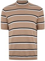 Topman Beige Stripe Turtle Neck Sweater
