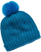 Portolano Wool-Blend Hat With Faux Fur Pom