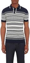 Orley Men's Striped Merino Wool Polo Shirt-NAVY