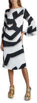 Dries Van Noten Danz Ribbon-Print Flare-Sleeve Midi Dress