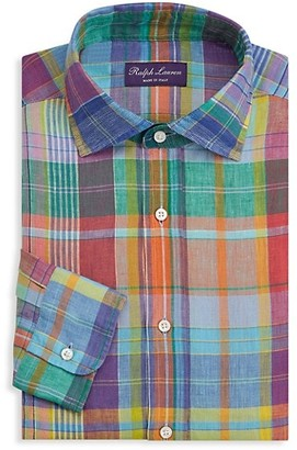 Ralph Lauren Purple Label Ashton Madras Plaid Linen Dress Shirt