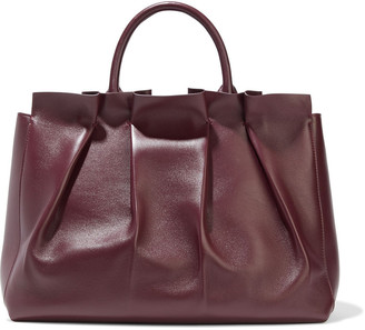 The Row Peggy Pleated Leather Tote
