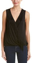 Ella Moss Women's Bella Sleeveless Cross Over Fringe Trim Top