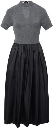 Prada Two-Tone Cashmere And Shell Midi Dress