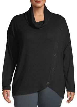 Heart & Crush Women's Plus Size Cowl Neck Button Athleisure Sweater