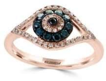 Effy Novelty Diamond, Black Diamond, Blue Diamond & 14K Rose Gold Ring