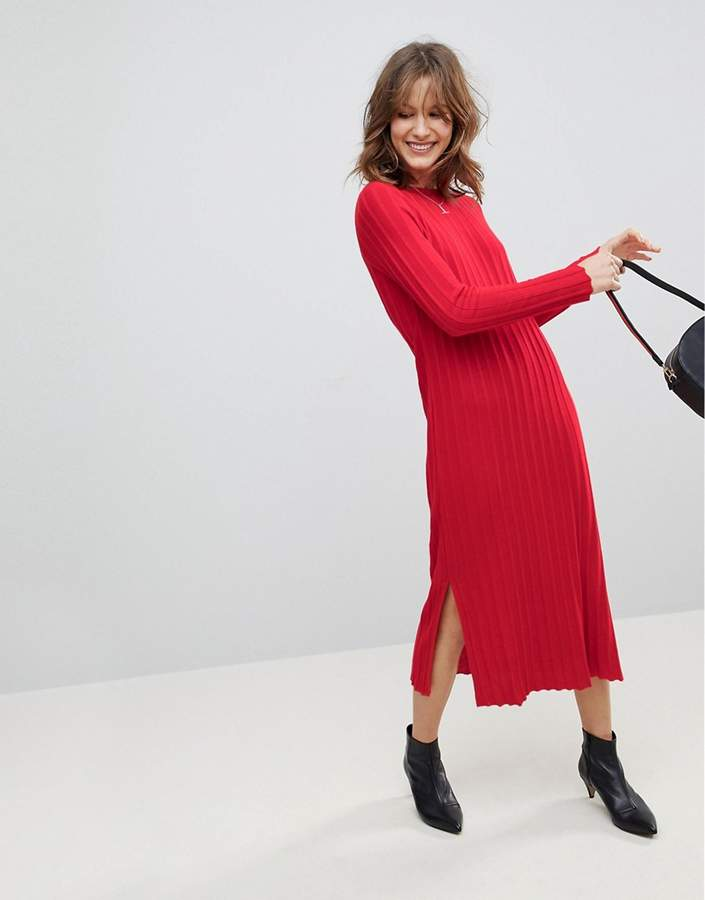 Asos Design Midi Dress in Pleated Wide Rib